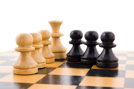 Chess concept, black and white pawns in line photo