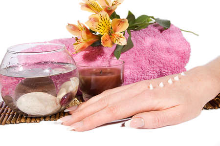 Woman hand with manicure and cream on spa treatment Stock Photo - 10080534
