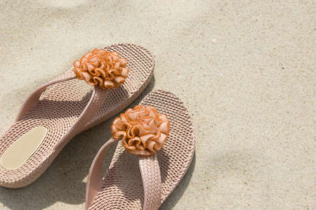 flipflops: Rabber flip-flops on beach sand