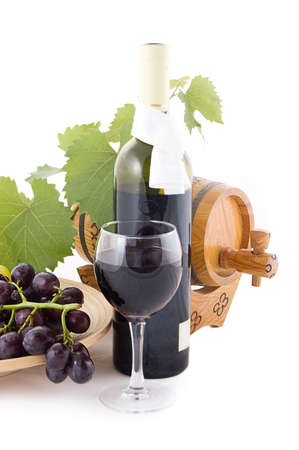 Red wine bottle, glass and cask with grapes over white Stock Photo - 10513094