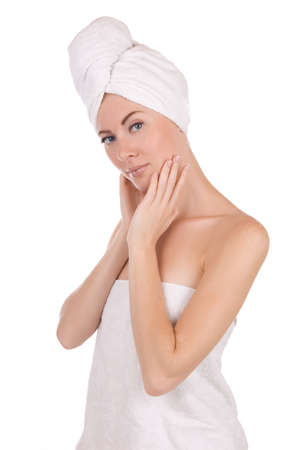Woman after bath with towel isolated on white photo