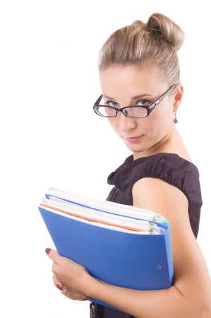 rigorous: Donna rigorosa in bicchieri con le carte su bianco