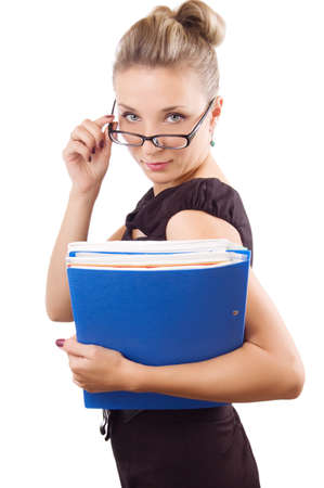 rigorous: Rigorous woman looking through the glasses with papers over white Stock Photo