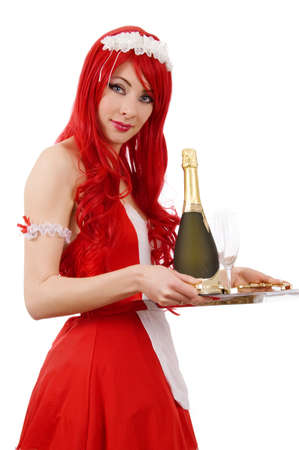 white headed: Red-headed sexy waitress with tray and champagne over white