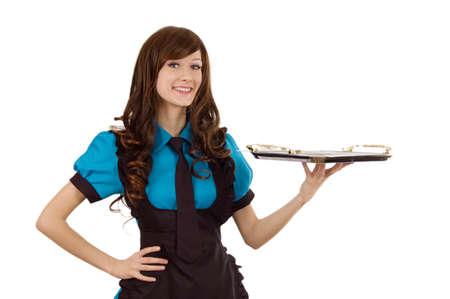trays: Lachend dienstmeisje met lege lade over wit