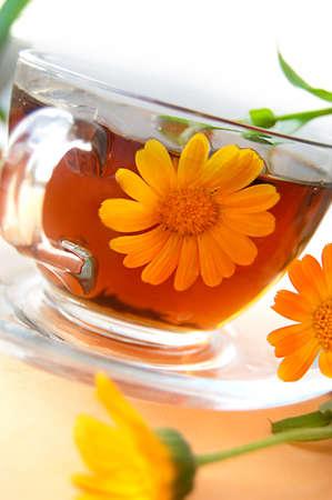 Curative tea with calendula flowers over orange back Stock Photo - 12664519
