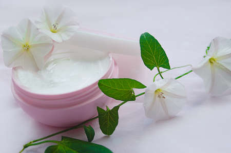 Jar of moisturizing facial cream with flower over pink Stock Photo - 12873698
