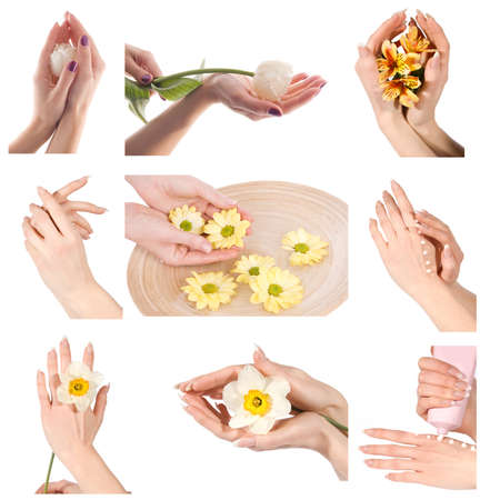 Collage of woman hands with manicure group photo isolated on white photo