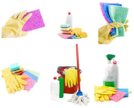 productos quimicos: Colección de productos de limpieza y herramientas sobre fondo blanco Foto de archivo