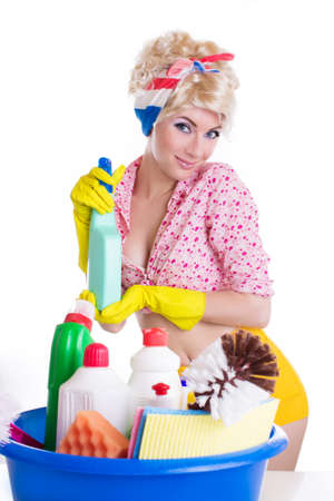 Pinup woman with cleaning set over white photo