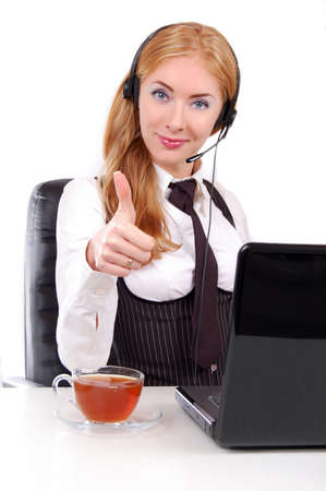 Help-line woman assistant with headset and thumb up, isolated on white Stock Photo - 14942884