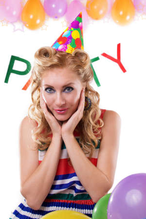 Surprised pinup girl with baloons and party word on white Stock Photo - 15689191