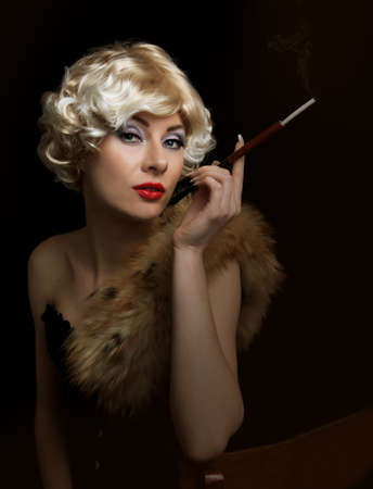 Blond retro-styled woman with cigarette over black photo