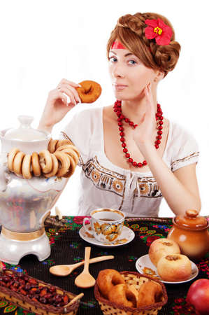 Russian woman eating traditional food over white Stock Photo - 17482906