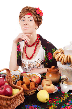 Russian woman with traditional food over white Stock Photo - 17482908
