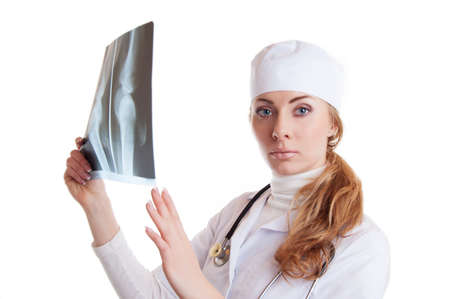 Female doctor with x-ray isolated on white Stock Photo - 17702724