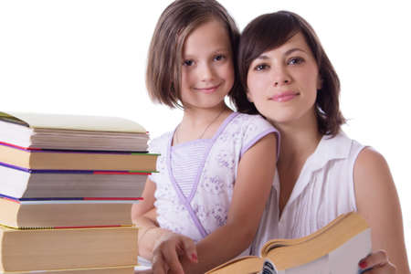Mother and daughter reading books together over white photo