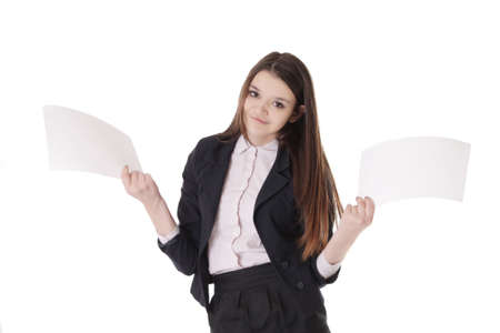 Disappointed student girl with two sheets of paper over white photo
