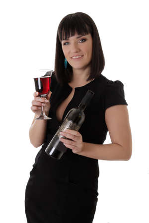 Elegant woman in dress with red wine glass and bottle over white photo