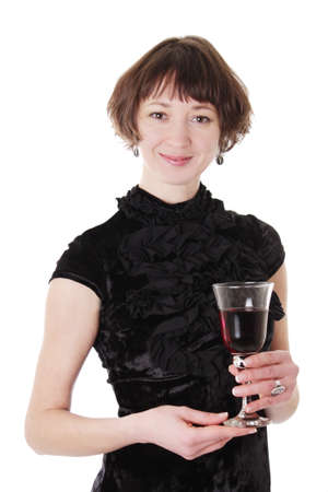Elegant woman in black dress holding red wine isolated on white photo
