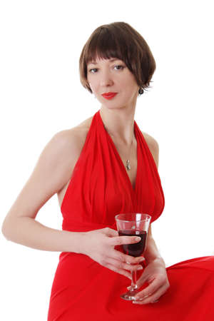 Elegant woman in dress with red glass of wine over white photo