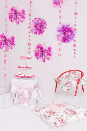 Dessert table with sweets for pink decoration party photo