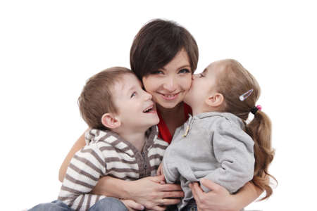 Happy mother hugging two children over white photo