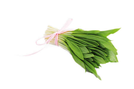 Ramson onion cluster over white background photo
