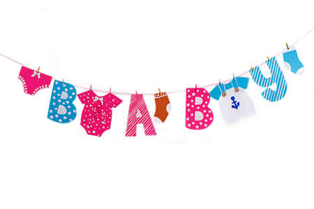 Garland with cloth and letters elements for baby shower on white photo
