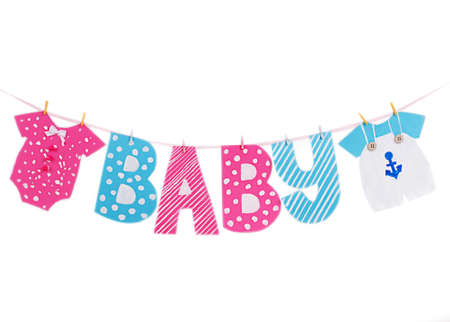 Baby shower boy and girl decoration garland isolated on white photo