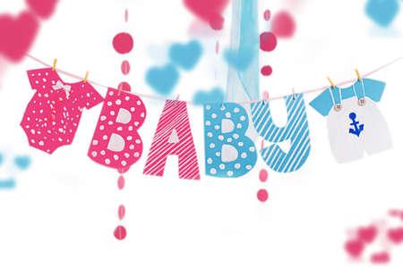 Decoracion De Baby Shower Para Nino Y Nina.Baby Shower Nino Y Nina Decoracion Guirnalda Aislado En
