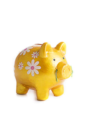 goldy: Goldy piggybank in flowers isolated on white background Stock Photo