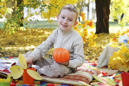 Smiling boy with pumpkin in autumn park photo