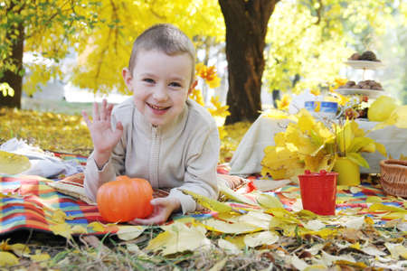 Boy with pumpkin greeting in autumn park photo