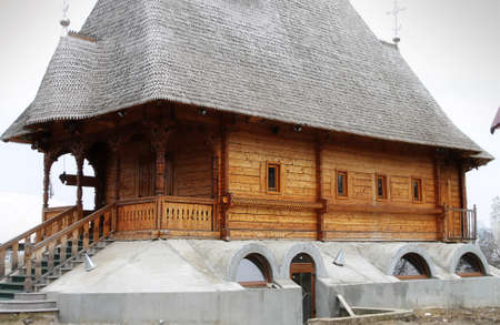 the believer: Part of wooden church in Moldova
