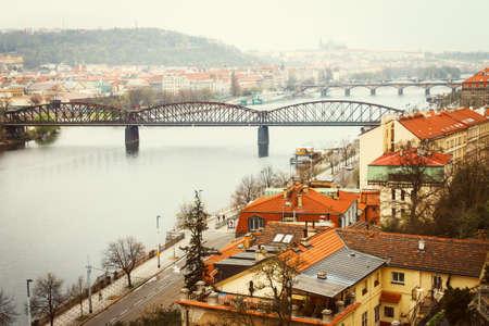 Vltava river view of Prague city with bridges Stock Photo