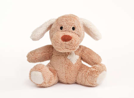 Soft childrens toy against the white background.