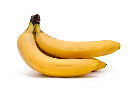 Cluster of bananas against the white background.