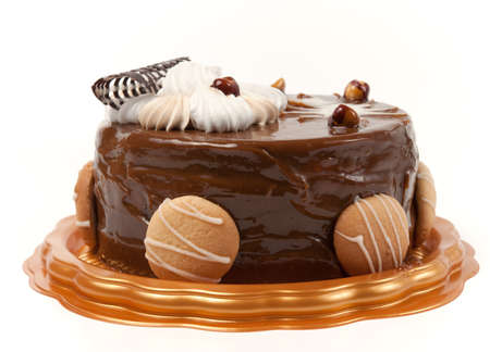 Chocolate cake against the white background.