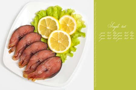 cartilaginous: Cartilaginous fish with the lemon against the white background. Stock Photo