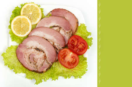 Meat cold the delicacy with the vegetables. Stock Photo