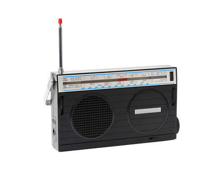 Old radio receiver against the white background  Stock Photo