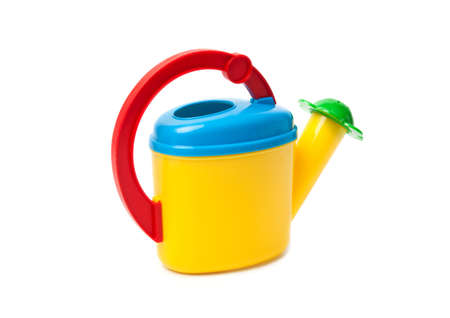Colored children watering can against the white background  Stock Photo