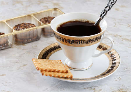Black coffee with the pastry