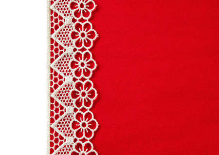 Red velvety background with lace