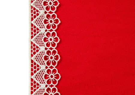 velvety: Red velvety background with lace