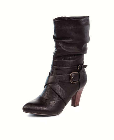 Black leather boots on a white background