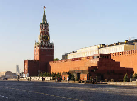 Mausoleum and Spasskaya tower in Moscow  Editorial