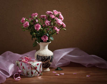 Still-life with a bouquet of roses