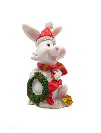 Toy Christmas hare on a white background.